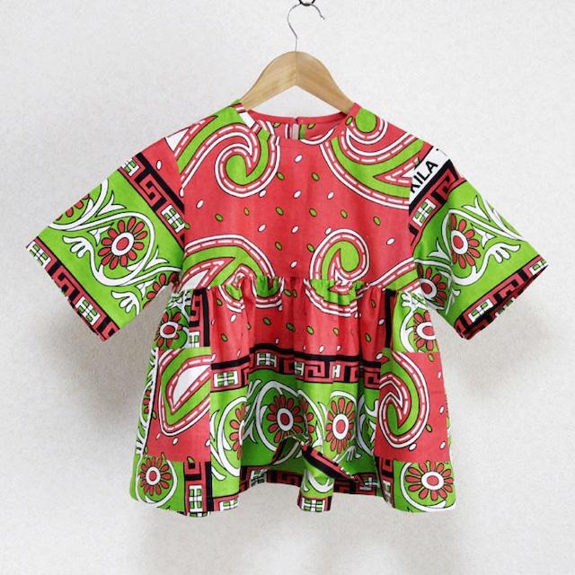 子供服 ギャザーワンピース|140 / アフリカ布 服