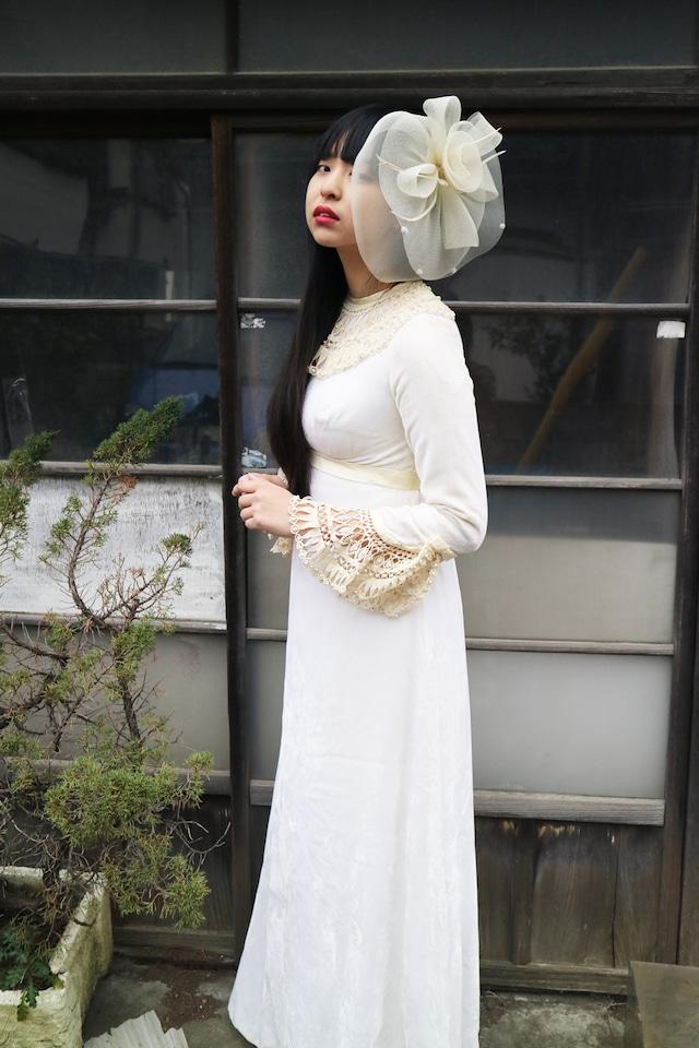 White velour long dress