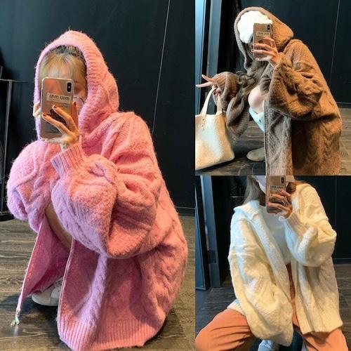 フード付き ニットカーディガン 韓国ファッション レディース ニット ケーブル編み フード ボリューム袖 長袖 厚手 オーバーサイズ DTC-607125320763