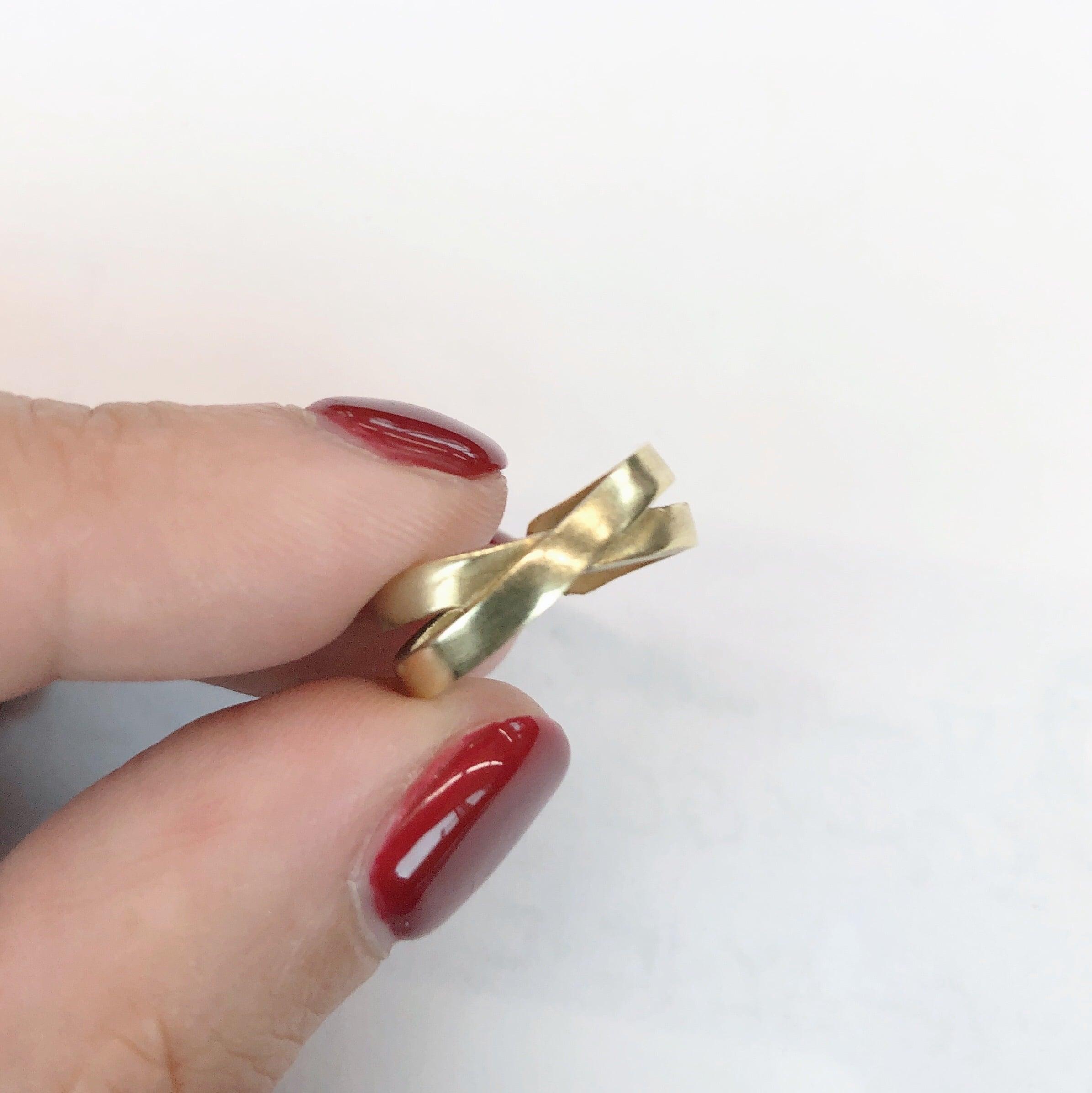 Raw brass Rings - X pinky ring RG-043