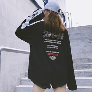 【トップス】店舗人気NO.1INS人気カジュアルファッション配色長袖膝上Tシャツ18686388