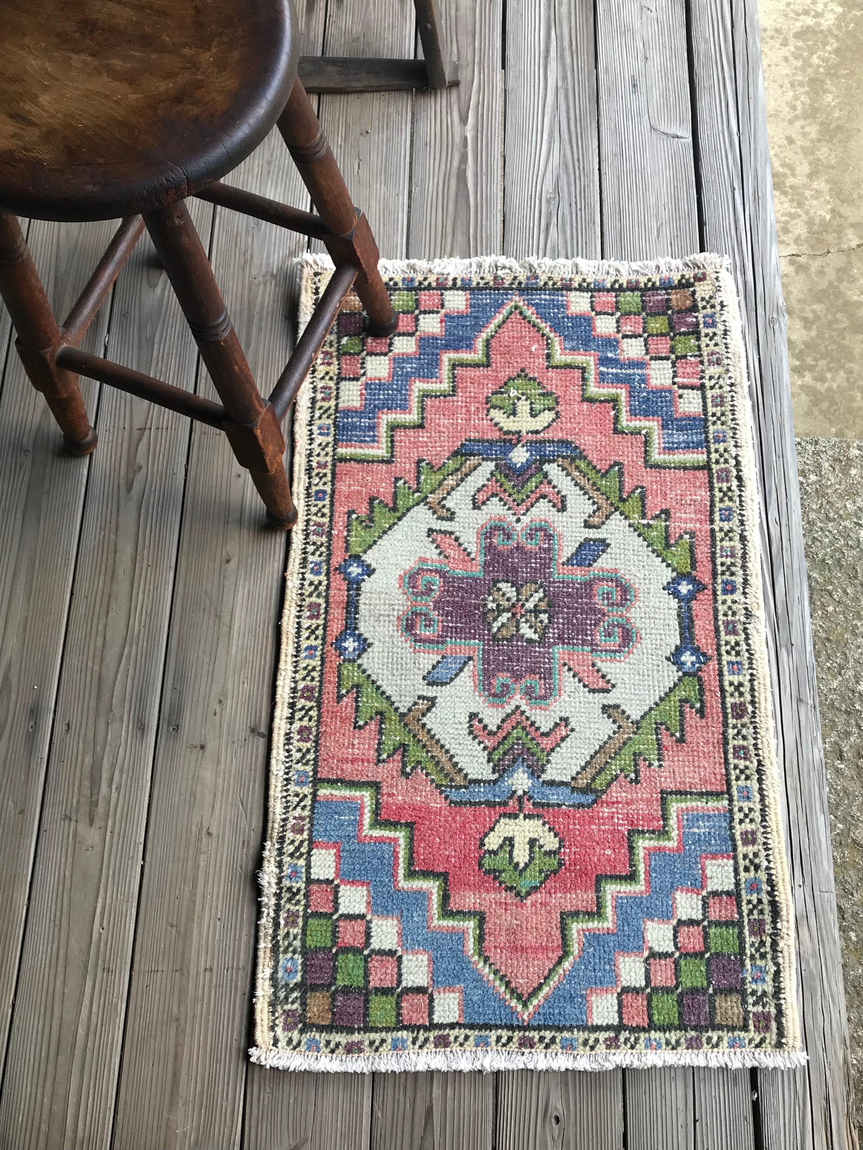 ビンテージ トルコ 絨毯 ミニラグ 玄関マット A