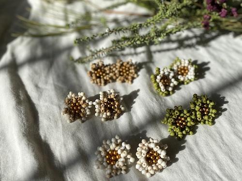 volume beads flower pierce/earrings 2