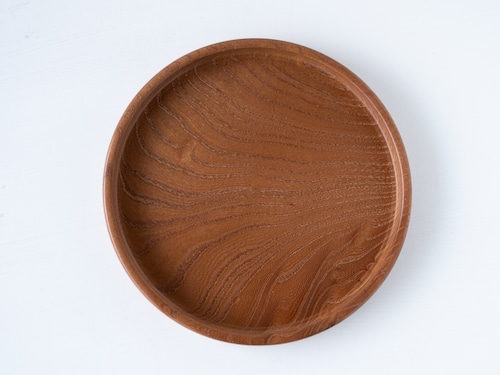 【現品限り】けやき 玉杢 小さな丸盆 直径19.5cm 無塗装