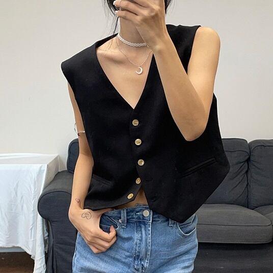 Simple short vest( シンプルショートベスト)b-470