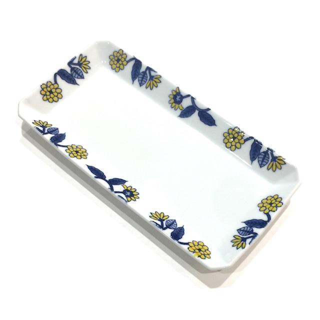 呉須葉釉花  長角皿