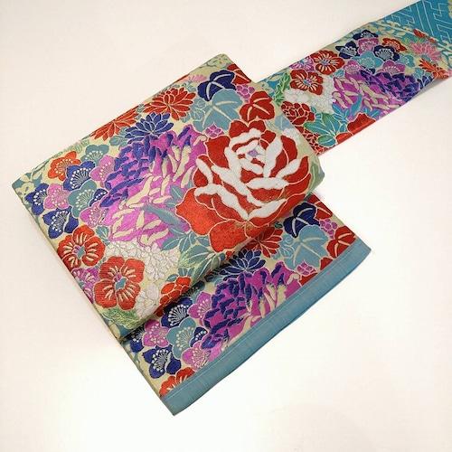 ★ アンティーク 名古屋帯  花 刺繍 ターコイズ ★縁ちゃぶ  c025