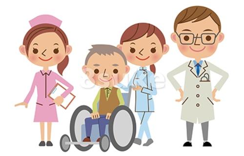 イラスト素材:医療スタッフと患者イメージ/医師・看護師・介護士(ベクター・JPG)