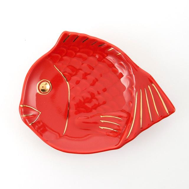 金赤  鯛型取皿