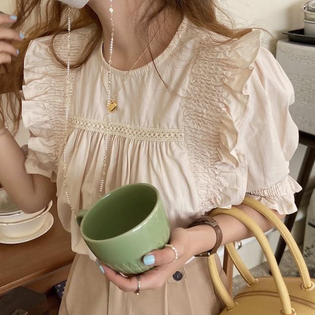 Frill Ruffle blouse(beige)
