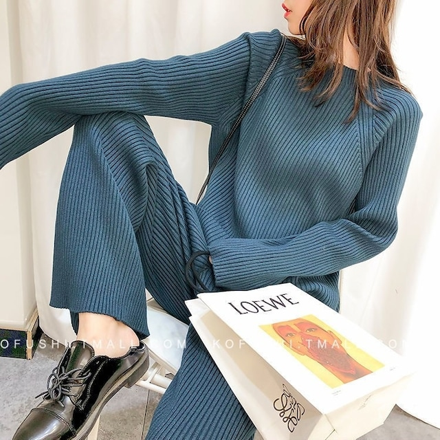 セーターとパンツ2ピーツセット 2色 【200947】 大きいサイズあり