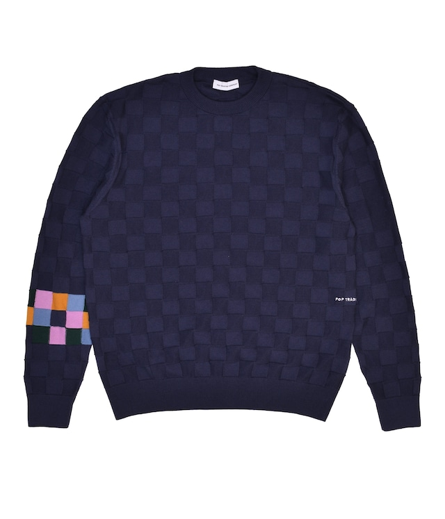 POP TRADING COMPANY CHECKED PANEL KNITTED CREWNECK NAVY/MULTI