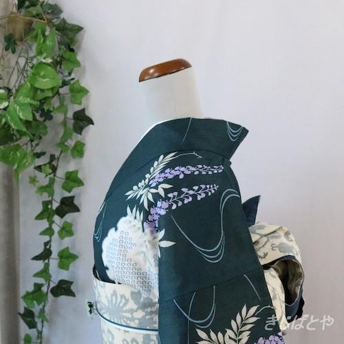 綿麻 高麗納戸に藤の浴衣