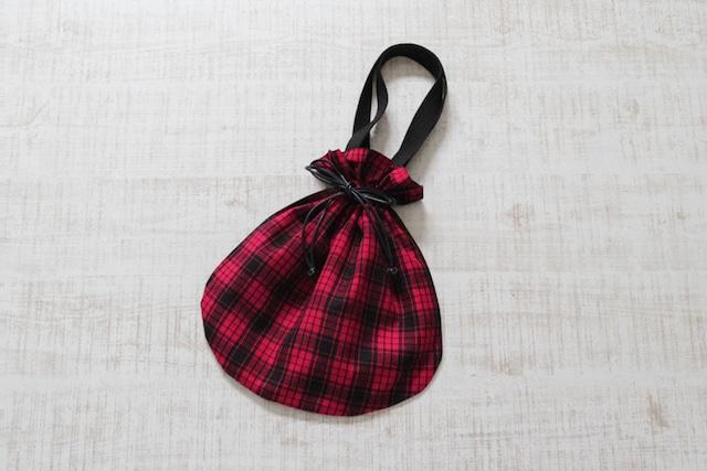 マサイチェックの巾着バッグ マサイ布 / アフリカ布 / インナーバック