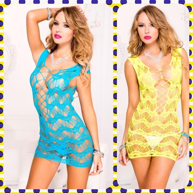 ミニドレス 全3色あり! ウェービーデザインネットミニドレスML6627