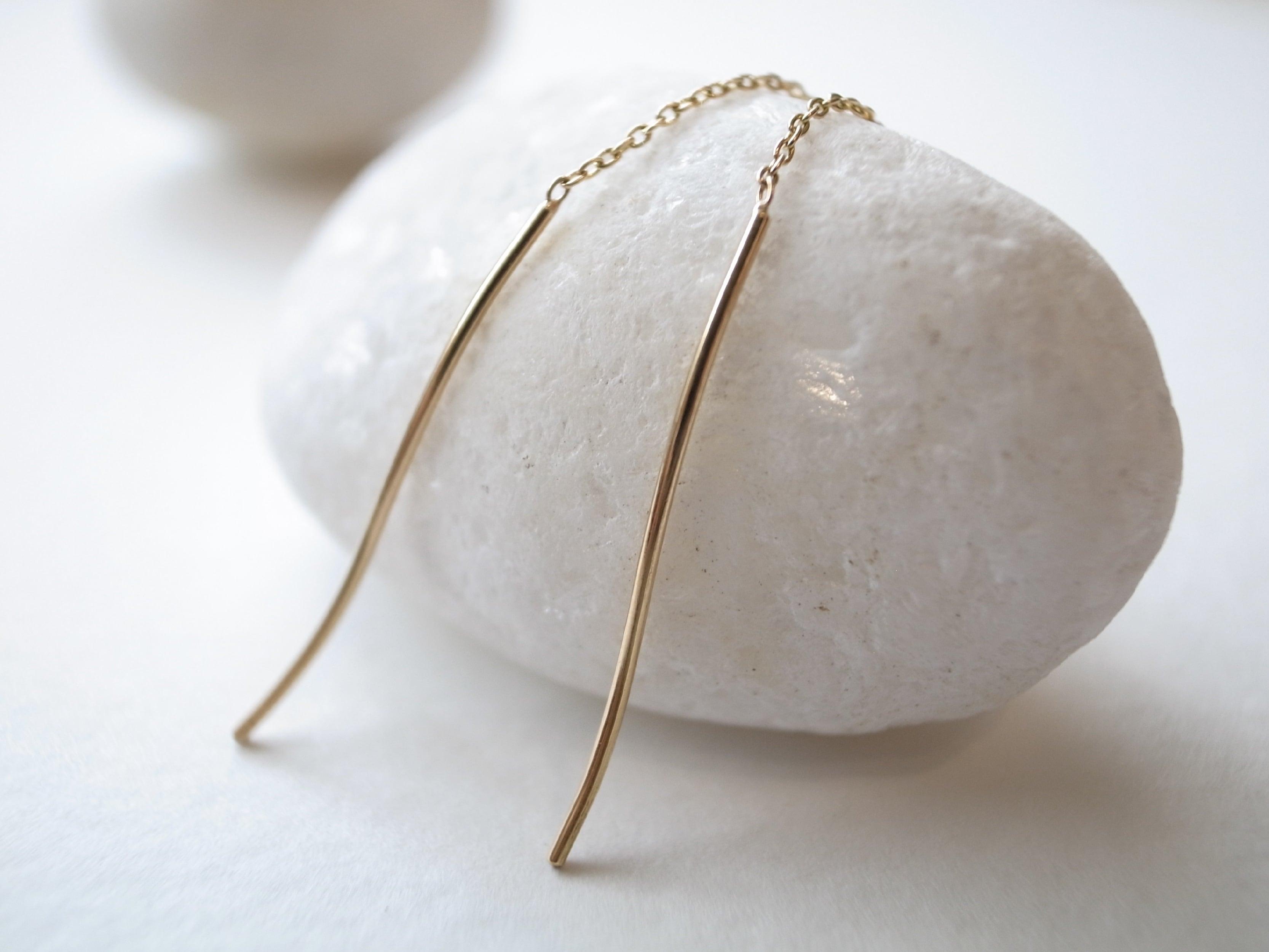 K18YG/yarn pierced earrings