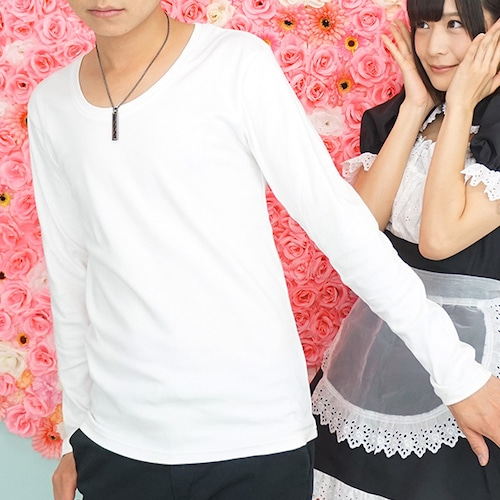 スムス長袖UネックTシャツ(ホワイト)CWS3848
