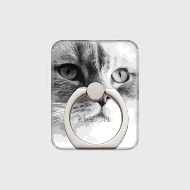 ラグドール おしゃれな猫スマホリング【IMPACT -shirokuro- 】