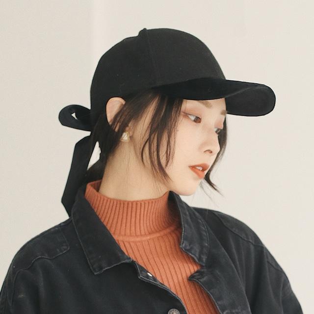【小物】カジュアルグレーリボン無地ブラックアクセサリー帽子43203882
