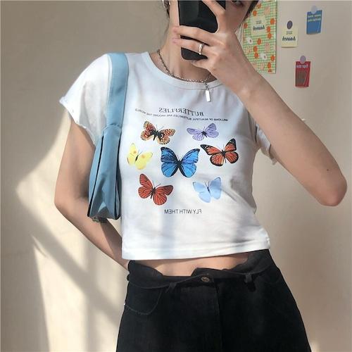 Tシャツ 半袖 袖切りっぱなしデザイン ショート丈 バタフライ ホワイト 韓国ファッション レディース 蝶 白 カットソー ラウンドネック かわいい カジュアル ガーリー 614247121002_wt