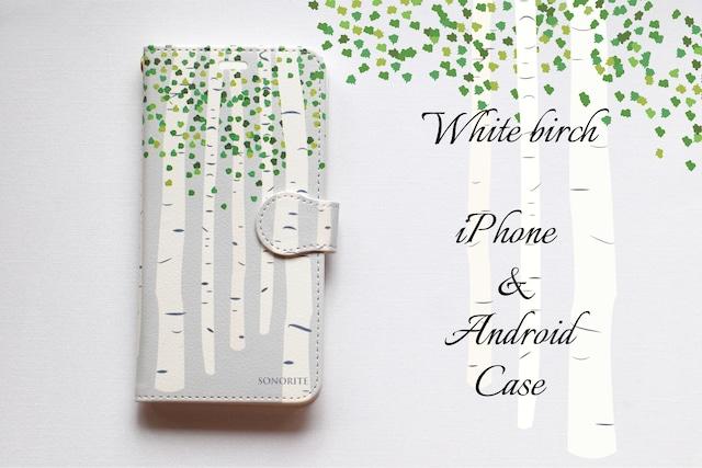 白樺 iPhone/Android ケース【受注制作】手帳 アイフォンケース スマホケース