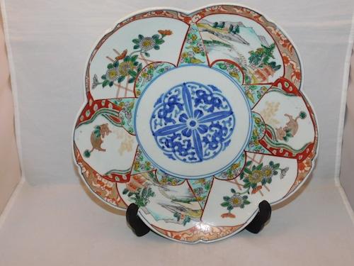 伊万里色絵山水輪花皿 Imari porcelain  plate