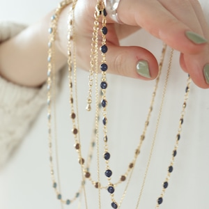 NECKLACE || 【通常商品】 NECKLACE SET 3(dot+stone navy) || 2 NECKLACES || GOLD×NAVY || FNSAL1205C