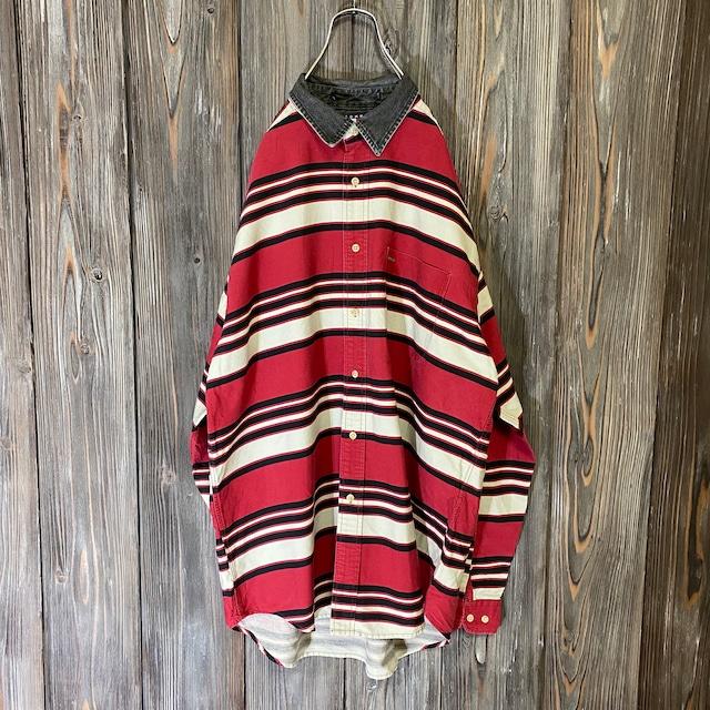 [TOMMY]90s rare design border shirt