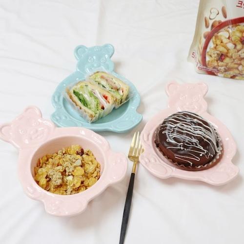 bear bowl plate 4colors/ ベアー ボウル プレート クマさん 皿 プレート トレー テディベア ベアーズ 韓国雑貨