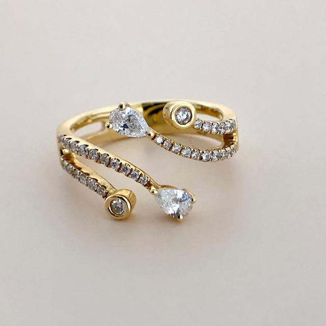 ペアシェイプカット ダイヤモンド  デザイン リング 0.50ct  K18イエローゴールド チェカ 鑑別書付