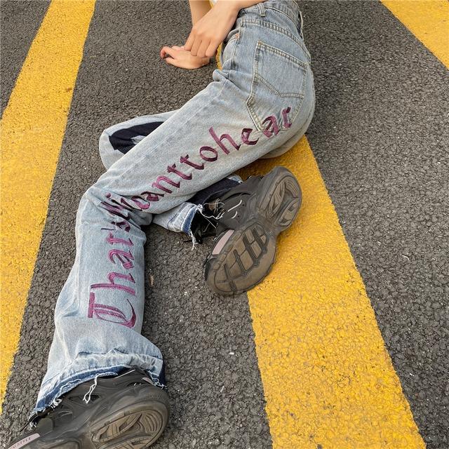 【ボトムス】韓国系ストリート刺繍ストレートスカートデニムパンツ42897862