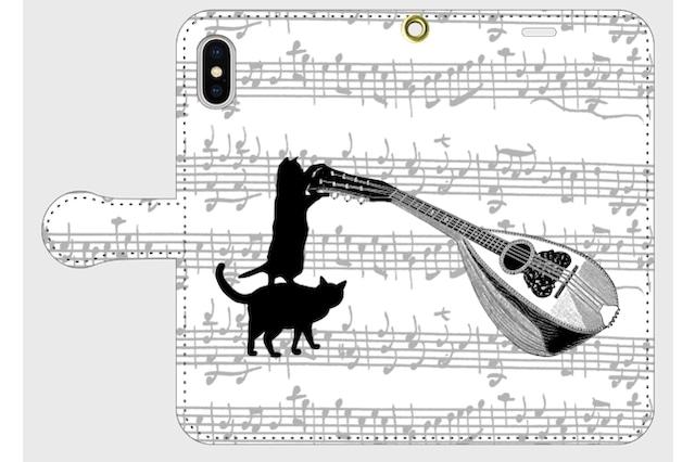 (iPhone用)マンドリンと黒猫の手帳型スマホケース/古楽譜