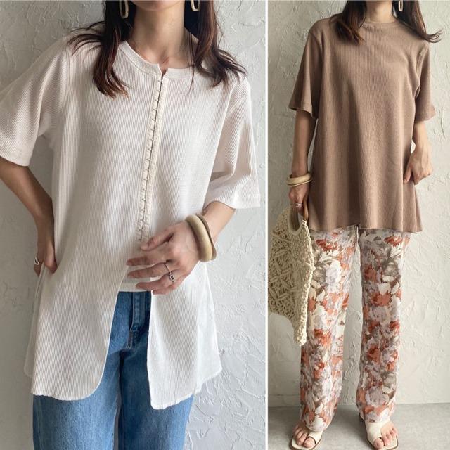 ◆即納◆前後2wayホックデザインワッフル半袖Tシャツ OP-t179