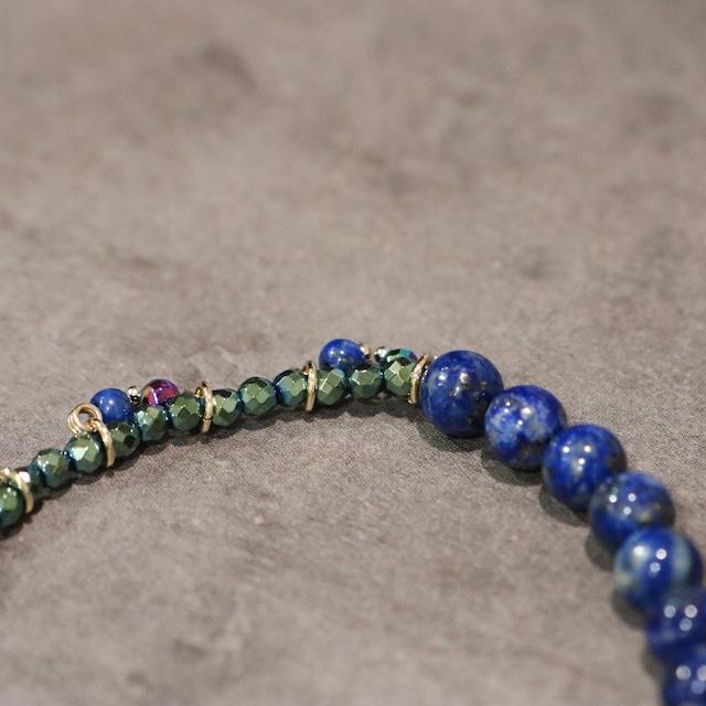 【COSMIC BLUE】ラピスラズリ×レインボークォーツ×ライトブルーヘマタイト  〈ハーフフリンジ〉ブレスレット