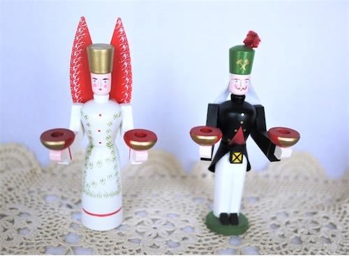 ドイツ エルツ人形 天使&鉱夫 燭台人形 ザイフェン