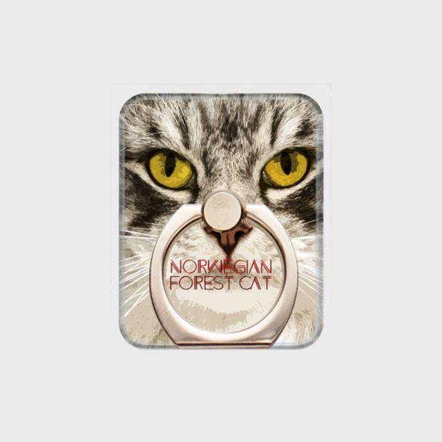 ノルウェージャンフォレストキャット おしゃれな猫スマホリング【IMPACT -color- 】