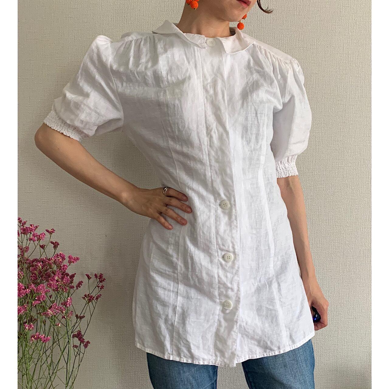 【送料無料】 80's vintage white linen blouse short puffy sleeve