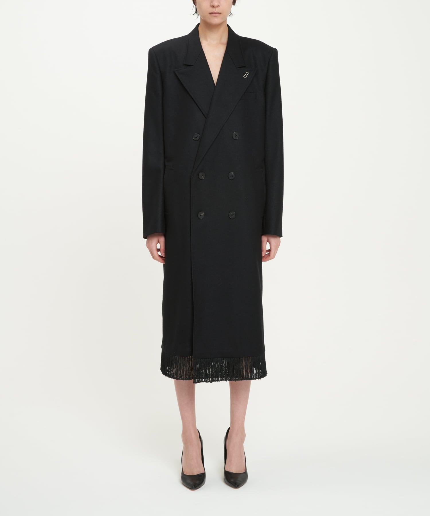 Black Fringe Double-Breasted Coat