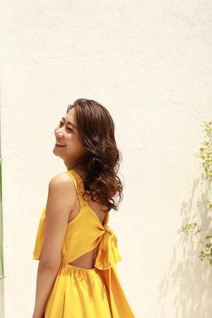 back ribbon resort maxi dress