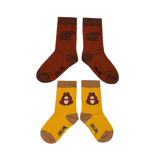【21AW】カーラインク(CARLIJNQ)Socks Set marmot&grizzly 靴下  モルモット くま