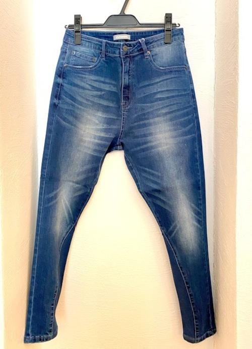 Hem Rib Design Tapered Skinny Pants Blue