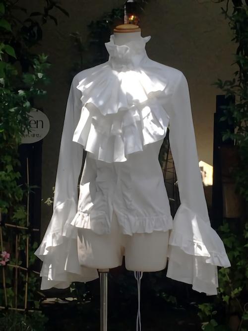 ジャボタイ付き背面スピンドル姫袖フリルブラウス 白 オーダー製作品
