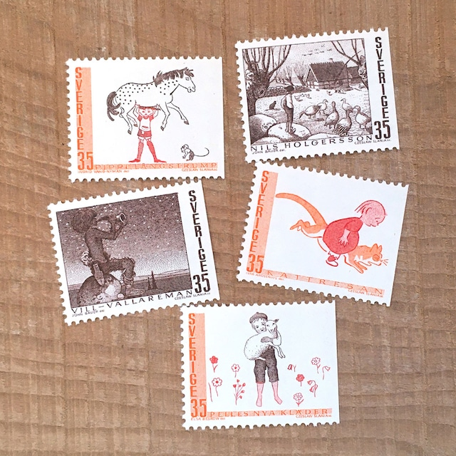 切手(未使用)「スウェーデンの童話 - 5種セット(1969)」