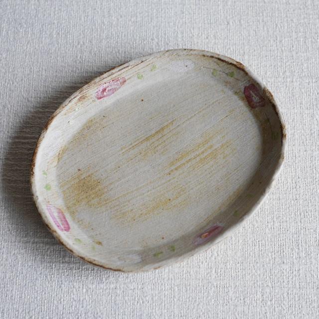 色絵花文楕円皿 Ivory