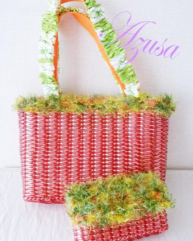 Azusa:ハワイアンバッグ 赤 大 ラ メルヘンテープバッグ 夏用バッグ ハワイアン