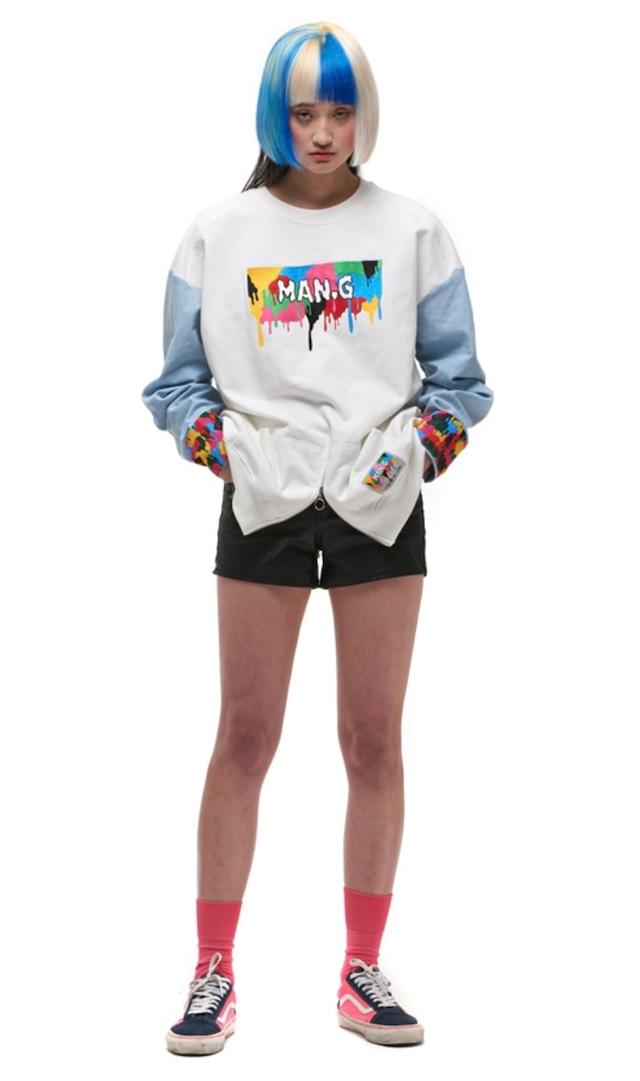 【MAN-G】アームシャツ切替フロント刺繍スウェットトップス