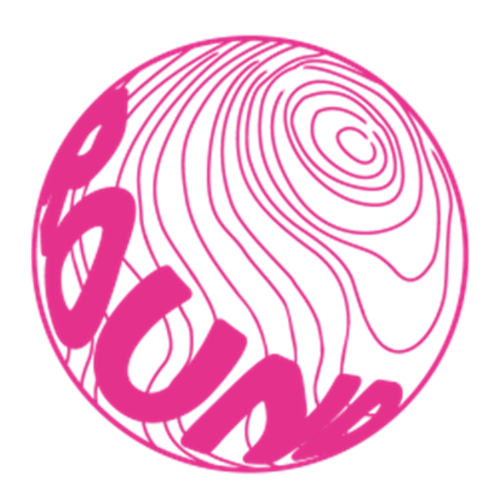 球体ロゴステッカー直径5cm【ピンク】