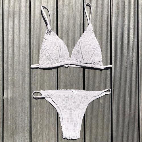 Bikini♡スモックドトライアングルビキニ グレー