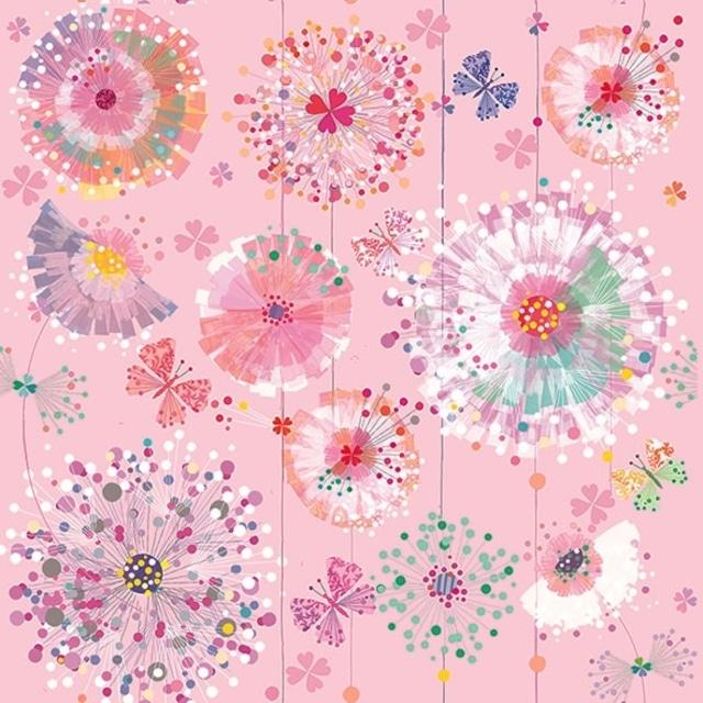 【artablo】バラ売り2枚 ランチサイズ ペーパーナプキン PREMAVERA DANDELIONS ピンク