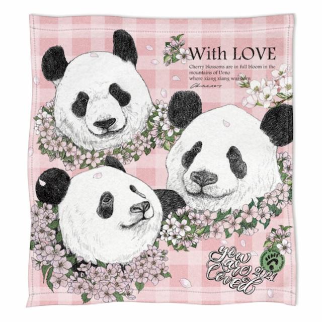 ◆受注生産◆春の新柄「桜の花輪パンダ」柄◆ハンドタオル◆